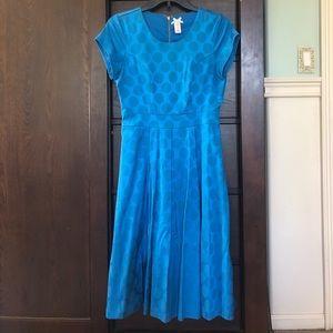 Blue polka dotted dress
